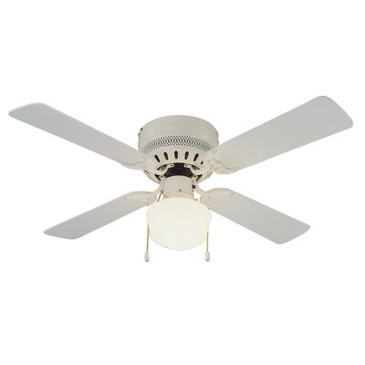 42 Millbridge 4-Blade Ceiling Fan Finish: White with Bleached Oak Or White Blades