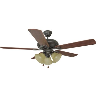 52 Bristol 5-Blade Ceiling Fan Finish: Oil Rubbed Bronze with Dark Mahogany Blade