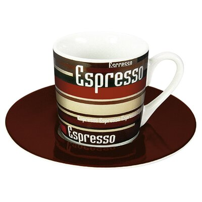 Konitz Coffee Shop Espresso Coffee Stripes Cup and Saucer