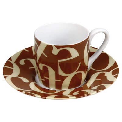 Konitz Coffee Shop Espresso Script Collage Cup and Saucer in Beige and Brown