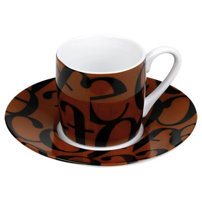 Konitz Coffee Shop Espresso Script Collage Cup and Saucer in Black and Brown