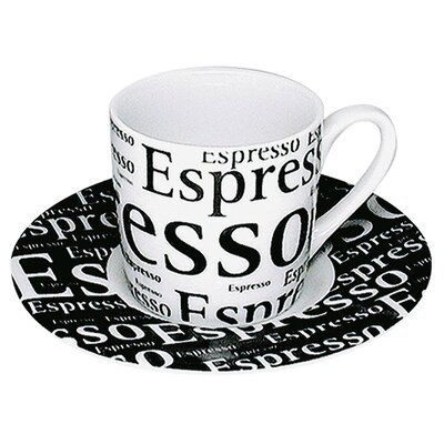 Konitz Coffee Shop Espresso Writing Cup and Saucer in Black