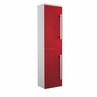 Ultra Wall Mounted Design Tall Side Cabinet in High Gloss Red