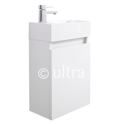 Ultra Zone Wall Hung Basin and Cabinet in High Gloss White