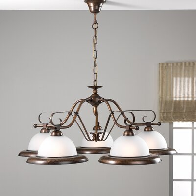 Rustik 5-Light Shaded Chandelier Finish: Antique Brass Mat, Glass: Pastel Marble