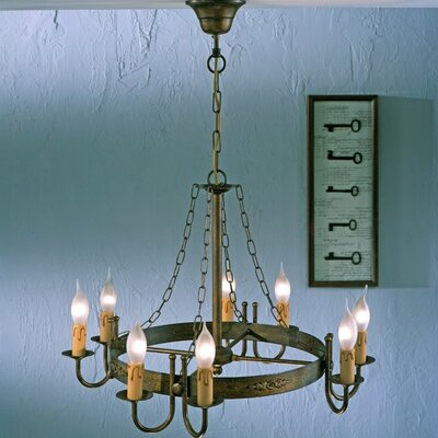 Rustik Medieval 8-Light Candle-Style Chandelier Finish: Antique Green