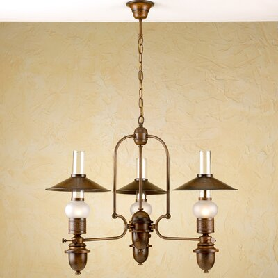 Rustik Velha 3-Light Shaded Chandelier Finish: Antique Brass Mat