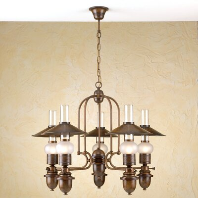 Rustik Velha 5-Light Shaded Chandelier Finish: Antique Brass Mat