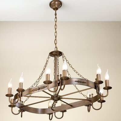 Rustik Medieval 12-Light Candle-Style Chandelier Finish: Earth