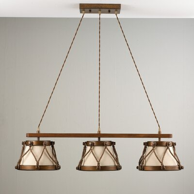 Rustik Tambor 3-Light Pendant Finish: Antique Brass Mat