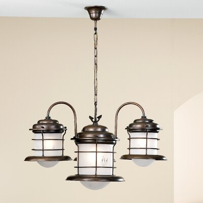 Nautic Caravela 4-Light Shaded Chandelier Finish: Antique Brass Mat, Glass: Engraved Avid