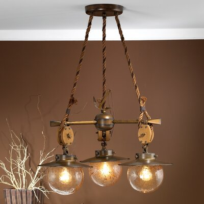 Nautic Cadernal 3-Light Shaded Chandelier Finish: Antique Brass Mat