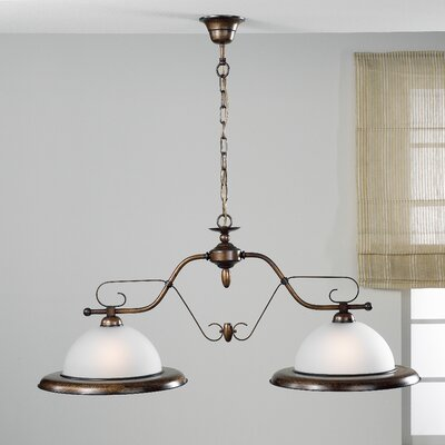 Rustik Rustik 2-Light Pendant Finish: Antique Brass Mat, Glass: Acid