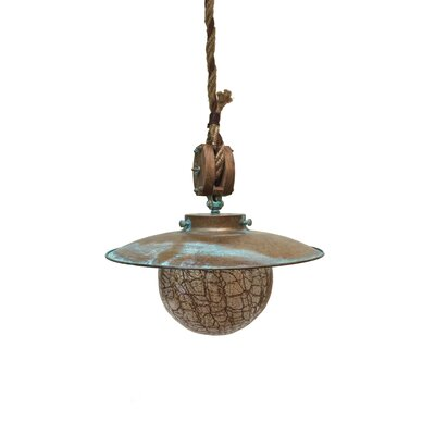 Nautic Cadernal 1-Light Pendant Finish: Antique Green, Size: Large