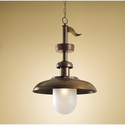 Nautic Pirates 1-Light Foyer Pendant Glass Color: Acid, Finish: Earth