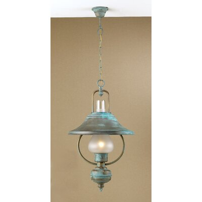 Rustik Rustica 1-Light Pendant Finish: Antique Green, Glass Color: Clear