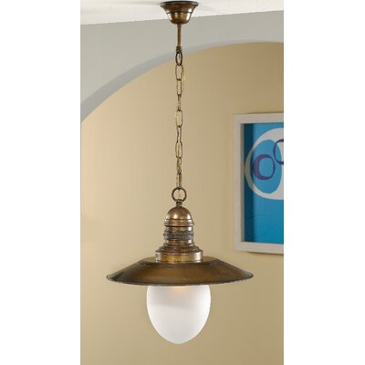 Nautic Ancora 1-Light Pendant Finish: Antique Brass Mat, Glass Color: Acid