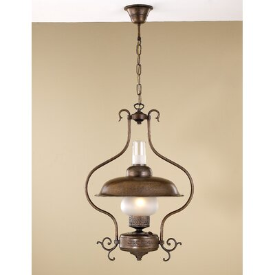 Rustik Mambo 1-Light Pendant Finish: Antique Green, Glass Color: Clear