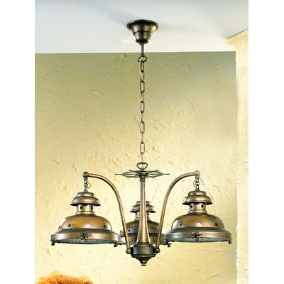 Nautic Escotilha 3-Light Shaded Chandelier Finish: Antique Green