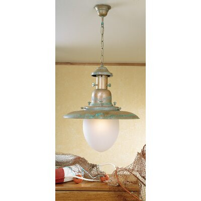 Nautic Ancora 1-Light Pendant Finish: Antique Green, Glass Color: Clear