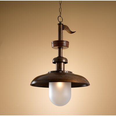 Nautic Pirates 1-Light Foyer Pendant Finish: Antique Green, Glass Color: Crakle