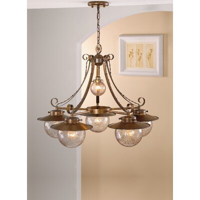 Rustik Aranha 6-Light Shaded Chandelier Finish: Antique Brass Mat