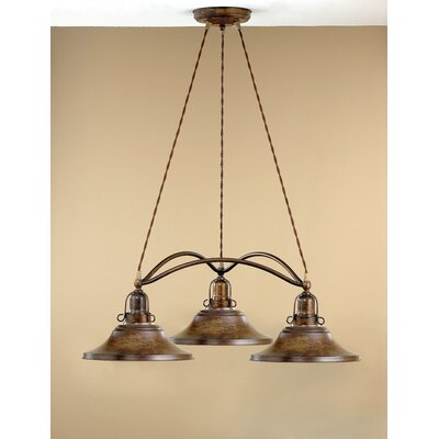 Wolbert 3-Light Shaded Chandelier Finish: Antique Green