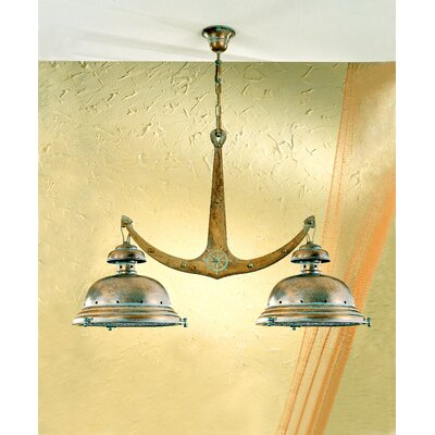 Nautic Leme Two Light Chandelier Finish: Antique Brass Mat