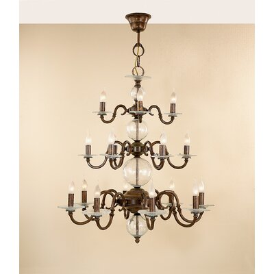 Classic Etrusca 18-Light Candle-Style Chandelier Finish: Antique Brass Mat