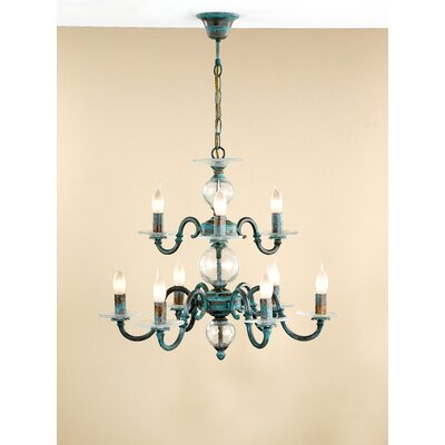 Classic Etrusca 9-Light Candle-Style Chandelier Finish: Antique Green