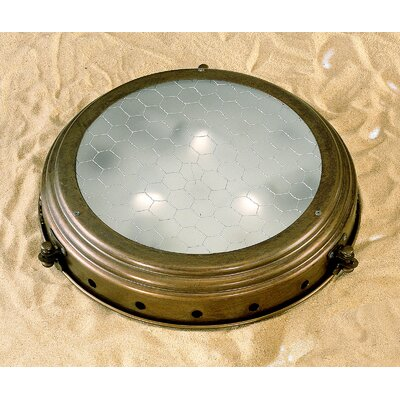 Nautic Escotilha 2-Light Semi Flush Mount Finish: Antique Brass Mat