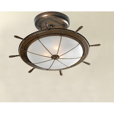 Nautic Leme 2-Light Celing Light Finish: Antique Green