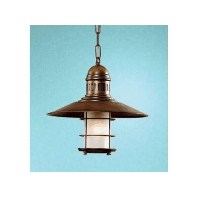 Nautic Ancora 1-Light Mini Pendant Finish: Antique Brass Mat, Glass Color: Acid