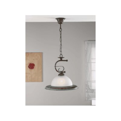 Rustik Rustik 1-Light Pendant Finish: Antique Green, Glass Color: Marble Pastel
