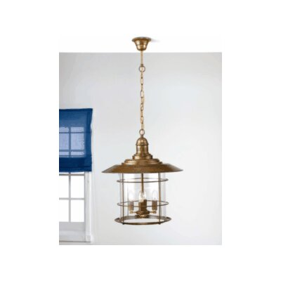 Nautic Ancora 4-Light Pendant Finish: Antique Brass Mat, Glass Color: Acid