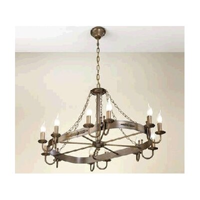 Rustik Medieval Twelve Light Chandelier Finish: Antique Green