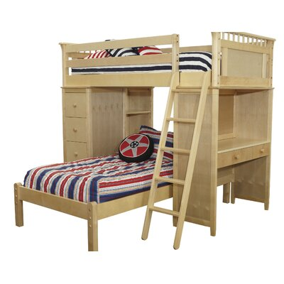 Bonneau Twin Over Twin Bunk Bed with Cases and Lower Platform