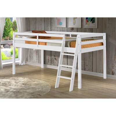 Gladwin Wood Framed Twin Low Loft Bed Bed Frame Color: White