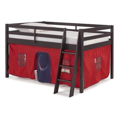 Gladwin Traditional Twin Low Loft Bed Bed Frame Color: Espresso, Color: Red