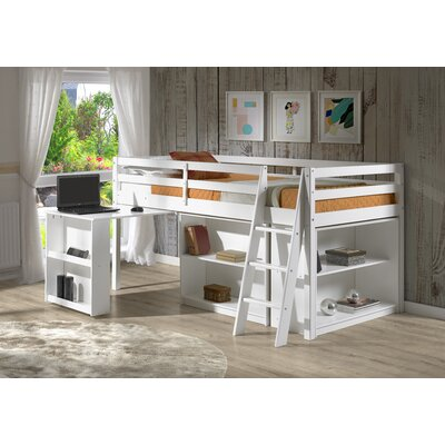 Gladwin Twin Low Loft Bed Bed Frame Color: White