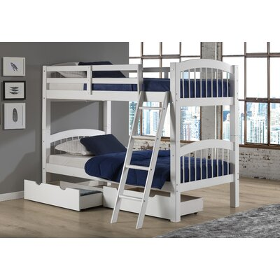 Bechtol Twin Bunk Bed with Storage Drawers Bed Frame Color: White