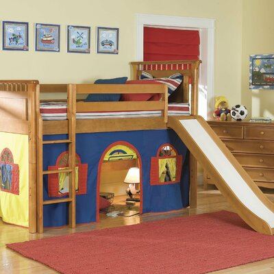 Bolton Furniture Bennington Twin Low Loft Tent Bed with Built-In Ladder - Configuration: Low Loft Bed with Bottom Curtain and Slide at Sears.com