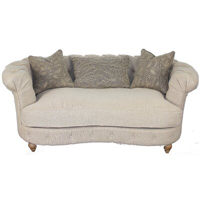 Down Chesterfield Loveseat Upholstery: Sand