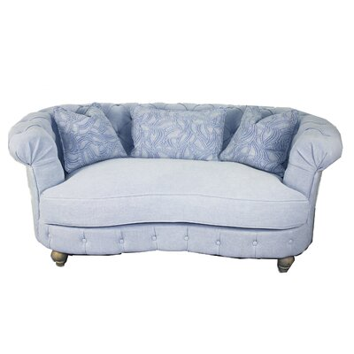 Down Chesterfield Loveseat Upholstery: Blue