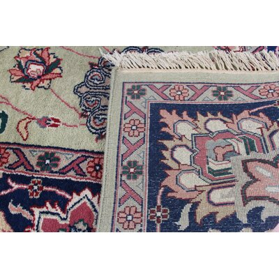 Kashan Hand Knotted Green/Navy Area Rug
