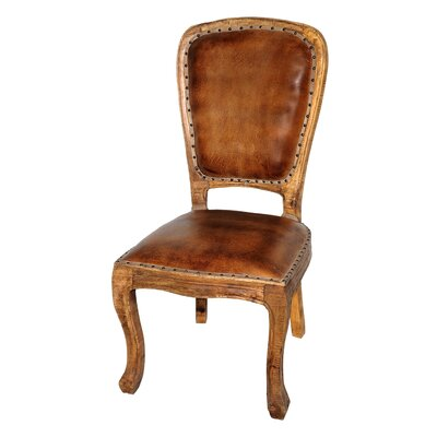 True Genuine Leather Upholstered Dining Chair Side Chair Finish: Light Arra