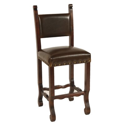 Chestnut Spanish Bar Stool with Cushion
