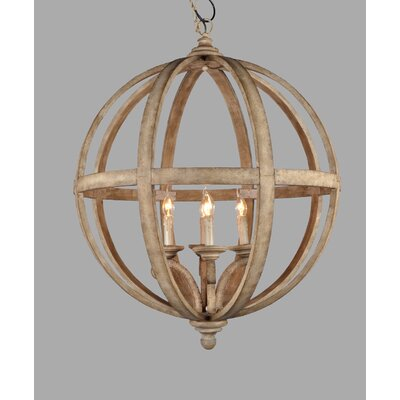 Turtle Lake 4-Light Wood Globe Pendent