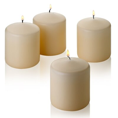4 Piece French Vanilla Pillar Candle Set LITD-FV-PILLAR-3x3-4