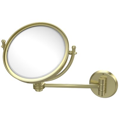 Wall Mounted Make-Up 3X Magnification Mirror with Dotted Detail Finish: Satin Brass